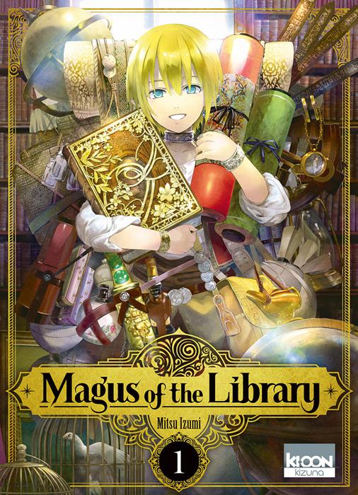 Un jeune garçon blond à la peau pâle, tenant des rouleaux de papiers et un livres dans ses bras, chargé d'objets en tout genre, souri en regardant devant lui. Le titre du livre est écrit en noir sur un fond et dans un cadre bronze doré.